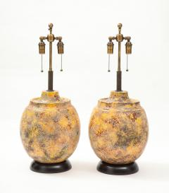 Pair of Large Italian Ceramic Lamps with a Scavo Glazed Finish  - 1900530