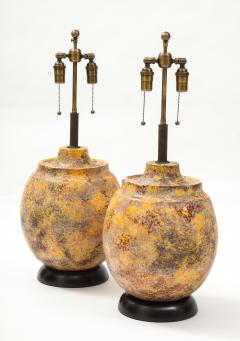 Pair of Large Italian Ceramic Lamps with a Scavo Glazed Finish  - 1900531