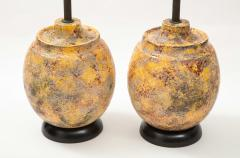 Pair of Large Italian Ceramic Lamps with a Scavo Glazed Finish  - 1900532