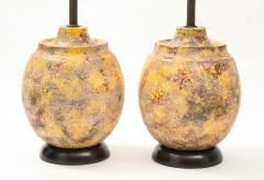 Pair of Large Italian Ceramic Lamps with a Scavo Glazed Finish  - 1900533
