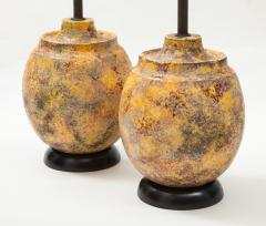 Pair of Large Italian Ceramic Lamps with a Scavo Glazed Finish  - 1900534