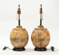 Pair of Large Italian Ceramic Lamps with a Scavo Glazed Finish  - 1900538