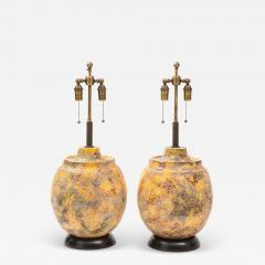 Pair of Large Italian Ceramic Lamps with a Scavo Glazed Finish  - 1902054