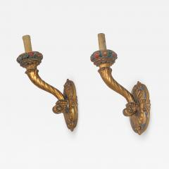 Pair of Large Italian Gilt wood wall sconces - 901789