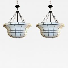 Pair of Large Leaded Glass Fixtures - 657625