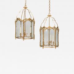 Pair of Large Louis XV Style Gilt Bronze Lanterns 19th Century - 583787