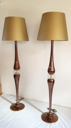 Pair of Large Mid Century Modern Mirrored copper color Murano Glass Floor Lamps - 1002773