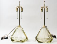 Pair of Large Murano Diamond Faceted Citrine Glass Lamps Contemporary - 1710237