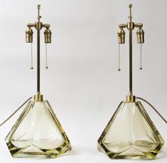 Pair of Large Murano Diamond Faceted Citrine Glass Lamps Contemporary - 1710246