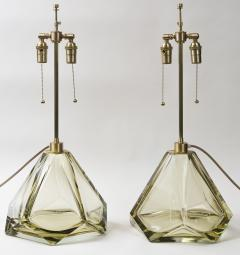 Pair of Large Murano Diamond Faceted Citrine Glass Lamps Contemporary - 1710247