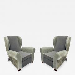 Pair of Large Sculptural French Wing Chairs 1930s - 670134