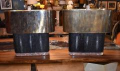 Pair of Large Shagreen and Resin with Brass Shades - 1008895
