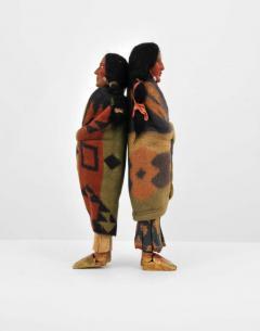 Pair of Large Skookum Dolls Circa 1940 1950 Native American - 44021