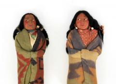 Pair of Large Skookum Dolls Circa 1940 1950 Native American - 44022