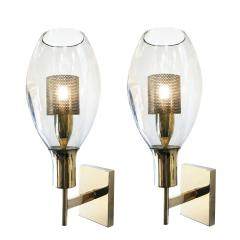 Pair of Large Smoked Glass Sconces - 1316442