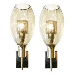 Pair of Large Smoked Glass Sconces - 1316447