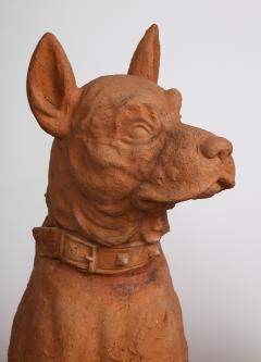 Pair of Large Terra Cotta Great Dane Dog Statues - 1015668