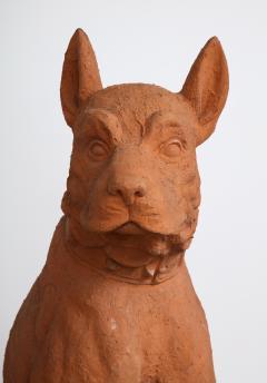Pair of Large Terra Cotta Great Dane Dog Statues - 1015669