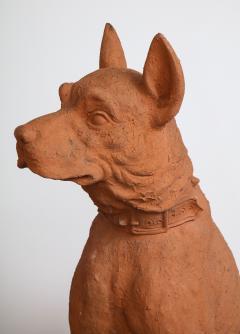 Pair of Large Terra Cotta Great Dane Dog Statues - 1015672
