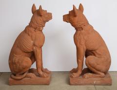 Pair of Large Terra Cotta Great Dane Dog Statues - 1015675