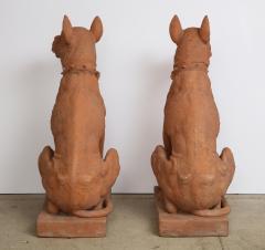 Pair of Large Terra Cotta Great Dane Dog Statues - 1015676