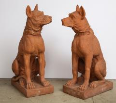 Pair of Large Terra Cotta Great Dane Dog Statues - 1015680