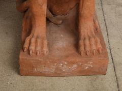 Pair of Large Terra Cotta Great Dane Dog Statues - 1015682