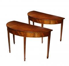 Pair of Late 18th Century Hepplewhite Mahogany Demilune Tables - 510059