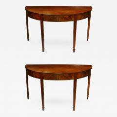 Pair of Late 18th Century Hepplewhite Mahogany Demilune Tables - 511690