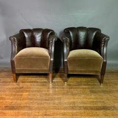 Pair of Late 1930s Channel Back Leather Club Chairs - 1347307