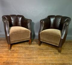 Pair of Late 1930s Channel Back Leather Club Chairs - 1347308