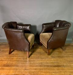 Pair of Late 1930s Channel Back Leather Club Chairs - 1347309