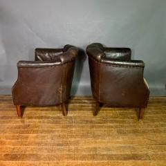 Pair of Late 1930s Channel Back Leather Club Chairs - 1347311