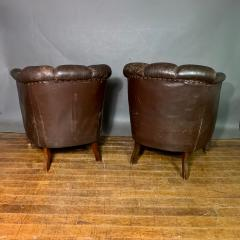 Pair of Late 1930s Channel Back Leather Club Chairs - 1347314