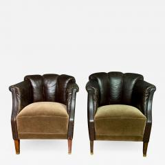 Pair of Late 1930s Channel Back Leather Club Chairs - 1349217