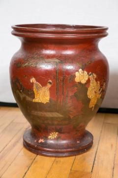 Pair of Late 19th Century Red Lacquer Chinoiserie Vases - 175243