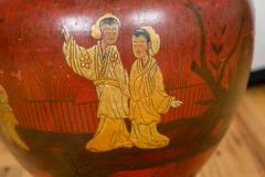 Pair of Late 19th Century Red Lacquer Chinoiserie Vases - 175245