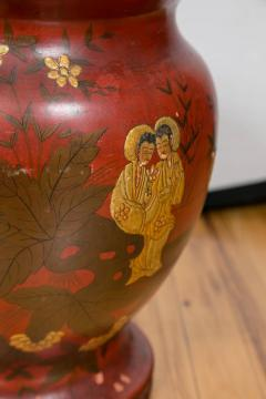 Pair of Late 19th Century Red Lacquer Chinoiserie Vases - 175247