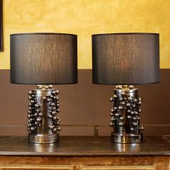 Pair of Late 20th Century Black Iridescent Earthenware Table Lamps with Shades - 1631673