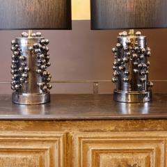 Pair of Late 20th Century Black Iridescent Earthenware Table Lamps with Shades - 1631676