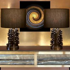 Pair of Late 20th Century Black Iridescent Earthenware Table Lamps with Shades - 1631683