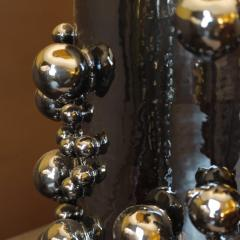 Pair of Late 20th Century Black Iridescent Earthenware Table Lamps with Shades - 1631703