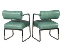 Pair of Leather Vintage Modern Roll Back Accent Chairs - 1739664