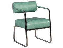 Pair of Leather Vintage Modern Roll Back Accent Chairs - 1739665