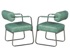 Pair of Leather Vintage Modern Roll Back Accent Chairs - 1739666