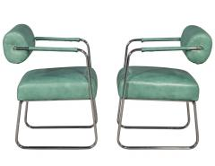 Pair of Leather Vintage Modern Roll Back Accent Chairs - 1739667