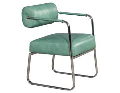Pair of Leather Vintage Modern Roll Back Accent Chairs - 1739669