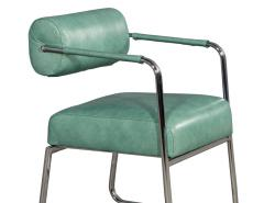 Pair of Leather Vintage Modern Roll Back Accent Chairs - 1739670