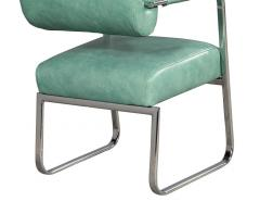 Pair of Leather Vintage Modern Roll Back Accent Chairs - 1739672