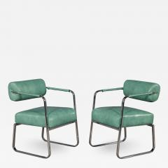 Pair of Leather Vintage Modern Roll Back Accent Chairs - 1740922